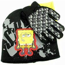 6c79ac7825996 Spongebob Squarepants Boy s Black Knit Beanie Hat   Glove Set