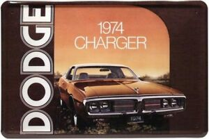 Retro Motiv Blechschild 20x30 Dodge 1974 Charger USA Nostalgie Werbe Plakat