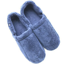 ISOTONER Men's Blue Memory-Foam Full House Slippers Size 11-12 Rubber Bottom EUC