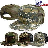 Trucker Hat Baseball Tactical Military Cap Mesh Flat Snapback Adjustable Mens
