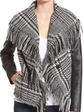 NWT Guess Sz Large Black White Fringe Trim Plaid Faux Leather Wilson Jacket $175