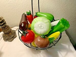 14 VINTAGE MURANO Style Art Deco HAND BLOWN  GLASS VEGETABLES Home Decor Staging