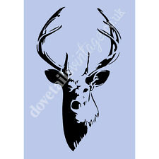 Stag Deer Stencil Antlers A4 Shabby Chic French Wall Furniture Re-usable 038A4