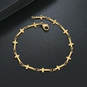 Silber Gold Edelstahl Damen Herren Armband Kreuz Jesus Cross Anhänger 20,5 cm