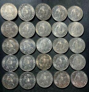 Old Mexico Coin Lot - 50 CENTAVOS - 25 COINS - AU/UNC - Lot #S15