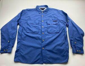 ExOfficio Mens  Large Hiking Fishing Long Sleeve Botton Down Shirt Blue