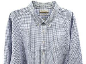 Gold Label Men's Dress Shirt Size 19 34/35 Big White Blue Check Roundtree Yorke