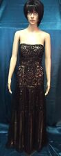 NWT SUE WONG BLACK LACE/ NUDE LINING SEQUIN & BEADED STRAPLESS EVENING GOWN SZ 2