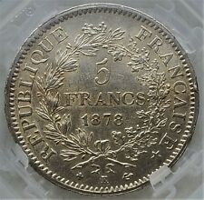 5 Francs 1878 K Hercule Third Republic France UNC / GENI Very Rare Only 363,130!