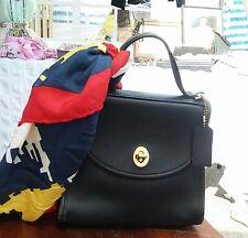 Vintage COACH 9983 Black Cowhide Leather Regina Turnlock Satchel Small Handbag
