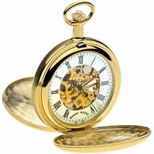 Skeleton Pocket Watch Gold Plated Ornate Full Double Hunter - 17 Jewel Movement