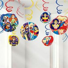 DC Super Hero Girls Swirl Decorations for a party - 12 pieces