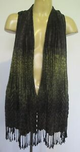 SCARF Green Black Long Pleated Fringed Animal ptn Rectangle Unisex Head Neck