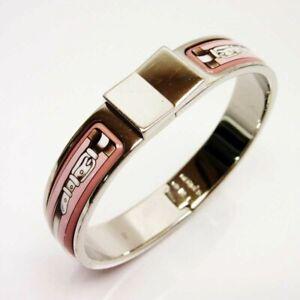 Authentic HERMES Bangle Bracelet  Enamel  Silver Pink Hermes USED