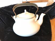 P. Regout Maastricht White 8 cup Teapot, brass handle, vtg.