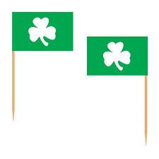 10 SHAMROCK FLAG COCKTAIL STICK SET PICKS PARTY DECOR IRISH ST PATRICK DAY THEME
