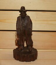 Vintage hand carving wood figurine man with whip