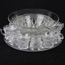 Vintage Imperial Glass Cape Cod Punch Bowl Set, Cape Cod, 12 glasses, platter
