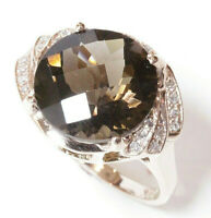 5.3 ct tw Natural Real Smoky Quartz & Diamond Solid 14k Rose Gold Cocktail Ring