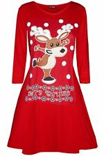 Women Ladies Christmas Xmas Reindeer Wall Snowman Naughty Girls Swing Mini Dress