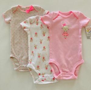 Carter's Baby Girl Ballerina Bunny 6 Months 3-pk Bodysuit Set Pink