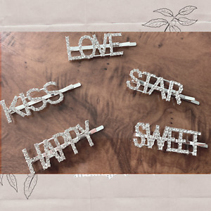 Ladies girls Hair clip words Diamante Letter silver accessory Love Happy Kiss UK