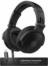 Over Ear DJ Headphones w Lightning Cable for iPhone Closed Back Studio Monitor
