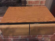 Wood Grain VHS Storage 18 VCR VHS Tape Holder Two Slide Plastic Drawers