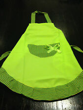 Princess Cut Apron Lime Green Stripe Country Cooking Baking BBQ Sweet Bow Bright