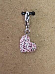 Swarovski Pink & Crystal Alana Heart Clip Charm Rhodium Plated Sparkly