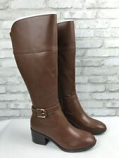 Marc Fisher Womens Medium Calf Leather Tall Shaft Boots Riley Cognac Brown 9M