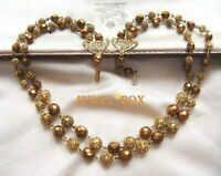 Vintage DOUBLE STRAND GOLD FILIGREE SPHERE BEAD UNUSUAL COPPER CRYSTAL NECKLACE