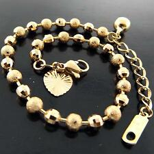 058 GENUINE REAL 18K YELLOW G/F GOLD GIRLS BEAD LINK HEART CHARM BRACELET BANGLE