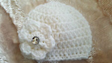 CHUNKY HAND CROCHETED BABY GIRLS HATS - DIAMANTE  -  2-4lb BABY TO WOMENS