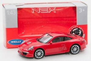 Porsche 911 (991) Carrera S red, Welly 44042, scale 1:43, model toy car boy gift
