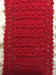 CROCHETED BY ARTIST Red MINIATURE DOLLHOUSE  BLANKET 3 X 6 Inches