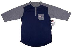 New Nike New England Patriots 3 Button Raglan Shirt Men Size Large DRIFIT Pocket