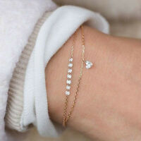 Charm Jewelry Women Heart Rhinestone Crystal Multilayer Bracelet Cuff Bangle