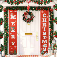 Merry Christmas Hanging Banners Xmas Porch Sign Holiday Home Door Decorations