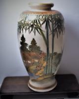 Antique Japanese Taisho Miniature Koshida Satsuma Vase Signed