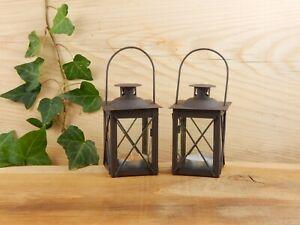 2er SET!! Mini Laterne Teelichthalter Windlicht Lampe Garten Gartendeko Kerze