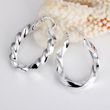 Wholesale 925Sterling Silver Lovely Large Hollow Wrest Wave Hoop Earrings E154