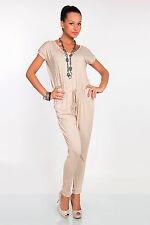 Stylish Women's Jumpsuit Scoop Neck Short Sleeve Catsuit Size 8-12 FK1256