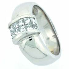 14k White Gold 0.83 Ct Diamond Wedding Band with Invisible Setting - (VS2 - F)