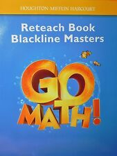 Go Math! Reteach Book Blackline Masters Grade K Teacher's Resource Kindergarten