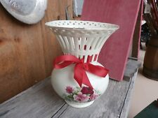 Vintage Baum Brothers Formalities Victorian Lattice Rose Flower Vase with Ribbon