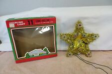 Vintage Gold Star 11 Lite Christmas Tree Top - Gold Tinsel Lighted in Orig. Box