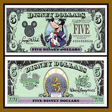"""Disney 5 Dollars, 1997 Series """"AA"""" Disneyland Goofy Uncirculated"""