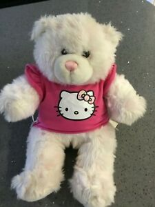 BUILD-A-BEAR WHITE WITH PINK IN FUR &ACCESSORY T SHIRT HELLO KITTY,SOFT & FLUFFY