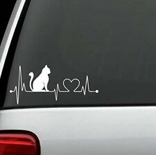 "7"" White Cat Heartbeat Lifeline Love vinyl Decal Sticker, car truck laptop etc"
